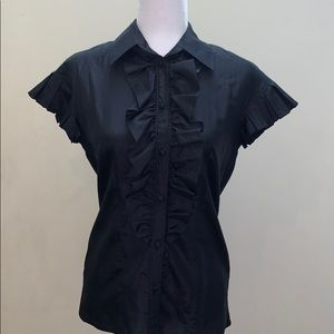 Club Monaco 💯 Silk button up ruffle blouse top